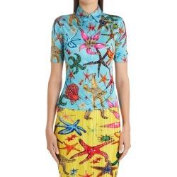 Women's Versace Tresor De La Mer Print Jersey Blouse, Size 6 US - Blue found on MODAPINS from Nordstrom for USD $895.00