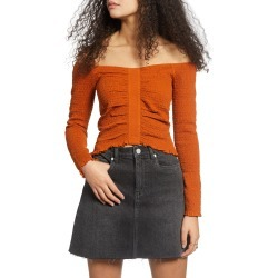 Women's Bp. Off The Shoulder Long Sleeve Smocked Top, Size Medium - Brown