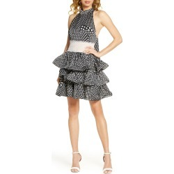 Women's Bronx And Banco Aubrey Polka Dot Halter Neck Party Dress, Size Medium - Black