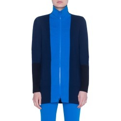 Women's Akris Punto Milano Knit Stretch Wool Long Cardigan, Size 6 - Blue found on MODAPINS from LinkShare USA for USD $556.00