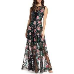 Women's Bronx And Banco Melia Floral Beaded & Embroidered Gown, Size X-Small - Black
