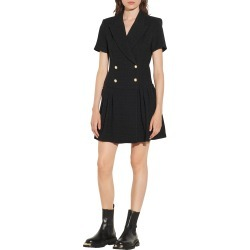Women's Sandro Double Breasted Fit & Flare Knit Minidress, Size 8 US - Black found on Bargain Bro from Nordstrom for USD $300.20