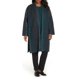 Plus Size Women's Eileen Fisher Long Wool Blend Kimono Jacket, Size One Size - Green