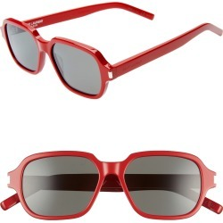 Saint Laurent 53Mm Rectangle Sunglasses - Shiny Red/ Grey Solid found on MODAPINS from Nordstrom for USD $350.00