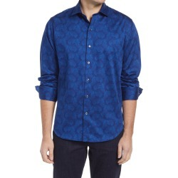 Men's Bugatchi Butterfly Print Button-Up Shirt, Size Medium - Blue found on Bargain Bro India from Nordstrom for $179.00