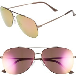 Maui Jim Cinder Cone 58mm Polarizedplus2 Aviator Sunglasses - Satin Sepia/ Maui Sunrise found on Bargain Bro India from Nordstrom for $299.99