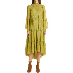 Women's Cinq A Sept Rika Long Sleeve High/low Mid Dress, Size 8 - Green found on Bargain Bro Philippines from Nordstrom for $465.00