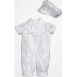 Infant Boy's Little Things Mean A Lot Dupioni Romper, Size 18M - White found on Bargain Bro Philippines from Nordstrom for $154.00
