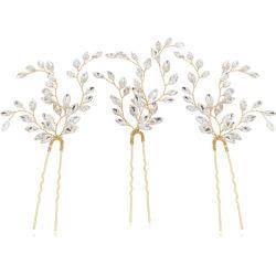 Brides & Hairpins Fawn Set Of 3 Swarovski Crystal Hair Pins
