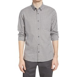 Men's Nordstrom Trim Fit Gingham Linen & Cotton Button-Down Shirt, Size Large - Grey found on Bargain Bro India from Nordstrom for $69.50