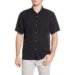 Men's Tommy Bahama Sand Bar Short Sleeve Button-Up Silk Shirt, Size X-Large - Black found on Bargain Bro India from Nordstrom for $97.40