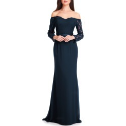 Women's #levkoff Off The Shoulder Three-Quarter Sleeve Gown, Size 0 - Blue