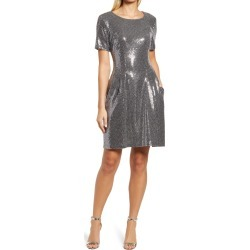 Women's Caxlz By Connected Apparel Kym Sequin Fit & Flare Cocktail Dress, Size 12 - Metallic found on Bargain Bro Philippines from Nordstrom for $85.00