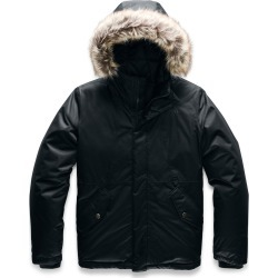 Girl's The North Face Greenland Waterproof 550 Fill Power Down Jacket With Faux Fur Trim, Size S (7-8) - Black