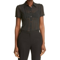 Women's Club Monaco Short Sleeve Silk Blouse, Size Large - Black found on Bargain Bro Philippines from Nordstrom for $149.50