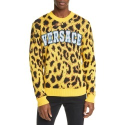 Men's Versace Leopard Sweater, Size 46 EU - Yellow found on MODAPINS from Nordstrom for USD $1025.00