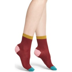 Women's Hysteria By Happy Socks Grace Ankle Socks, Size 9/11 - Burgundy found on MODAPINS from Nordstrom for USD $18.00