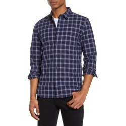 Men's French Connection Grindle Regular Fit Plaid Button-Up Shirt, Size Medium - Blue found on Bargain Bro India from Nordstrom for $43.98