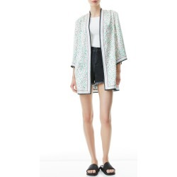 Women's Alice + Olivia Koko Print Reversible Open Front Jacket, Size X-Small/Small - White found on Bargain Bro from Nordstrom for USD $376.20