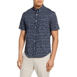 Men's Club Monaco Slim Fit Short Sleeve Button-Down Shirt, Size Medium - Blue found on Bargain Bro Philippines from LinkShare USA for $35.78