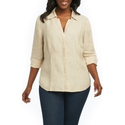 Plus Size Women's Foxcroft Taylor Three Quarter Sleeve Linen Shirt, Size 14W - Beige found on Bargain Bro from Nordstrom for USD $32.68