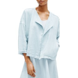 Petite Women's Eileen Fisher Heavy Organic Linen Drape Front Jacket, Size Petite P - Blue found on Bargain Bro from Nordstrom for USD $211.28