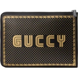 56b9f53c50b1 Gucci Guccy Logo Moon & Stars Leather Clutch - Black found on MODAPINS from  Nordstrom for