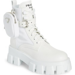 Women's Prada Monolith Mini Bag Lug Sole Combat Boot, Size 7.5US - White found on MODAPINS from Nordstrom for USD $1420.00