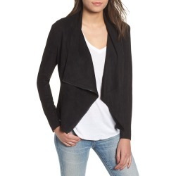 Women's Blanknyc Drape Front Faux Suede Jacket, Size Small - Black found on Bargain Bro from Nordstrom for USD $35.57
