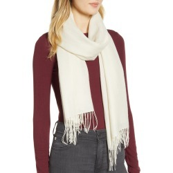 Women's Nordstrom Metallic Wool & Cashmere Blend Scarf, Size One Size - Beige found on Bargain Bro Philippines from Nordstrom for $99.00