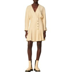 Women's Sandro Pleated Long Sleeve Dress, Size 6 US - Beige found on Bargain Bro from Nordstrom for USD $300.20