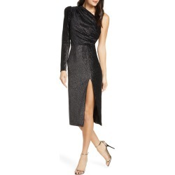 Women's Bronx And Banco One-Shoulder Velvet Shimmer Midi Dress, Size Medium - Black