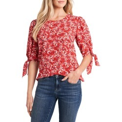 Women's Cece Marabella Ditsy Tie Sleeve Blouse, Size Small - Red found on MODAPINS from Nordstrom for USD $41.40