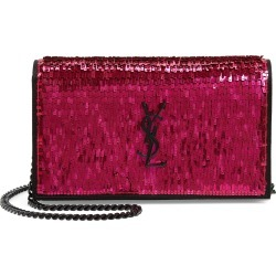 Women's Saint Laurent Kate Embellished Wallet On A Chain - Pink