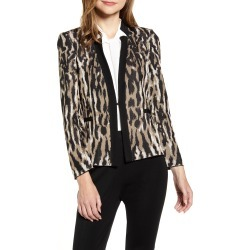 Women's Ming Wang Animal Pattern Knit Jacket, Size Large - Brown found on Bargain Bro Philippines from Nordstrom for $147.50