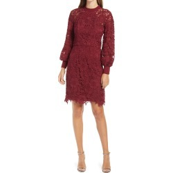 Women's Chi Chi London Crochet Long Sleeve Dress, Size 6 - Burgundy found on MODAPINS from Nordstrom for USD $110.00