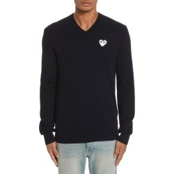 Men's Comme Des Garcons Play White Heart Wool V-Neck Sweater found on MODAPINS from Nordstrom for USD $295.00