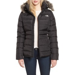 Women's The North Face Gotham Ii Hooded Water Resistant 550-Fill-Power Down Jacket With Faux Fur Trim, Size Small - Black