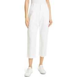 Women's Nili Lotan Luna Cotton & Linen Twill Crop Pants, Size 10 - White found on MODAPINS from Nordstrom for USD $355.00