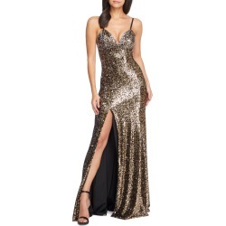 Women's Dress The Population Alejandra Slit Sequin Gown, Size Large - Metallic