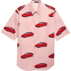 Men's Versace Racecar Print Short Sleeve Button-Up Shirt, Size 39 EU - Pink found on MODAPINS from Nordstrom for USD $625.00