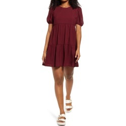 Women's Speechless Gingham Puff Sleeve Babydoll Minidress, Size Medium - Red found on Bargain Bro Philippines from Nordstrom for $49.00