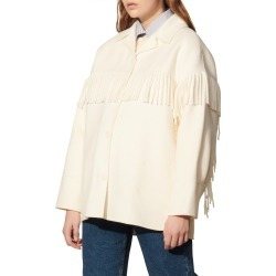 Women's Sandro Fringed Coat, Size 2 US - Beige found on Bargain Bro from Nordstrom for USD $452.20