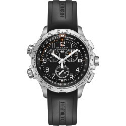 Men's Hamilton Khaki Aviation X-Wind Chronograph Gmt Silicone Strap Watch, 46Mm found on Bargain Bro India from Nordstrom for $1045.00