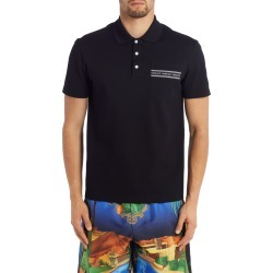 Men's Versace Logo Tape Short Sleeve Pique Pocket Polo, Size Large - Black found on MODAPINS from Nordstrom for USD $450.00
