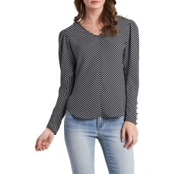 Women's Vince Camuto Chevron Stripe Long Sleeve Crepe De Chine Blouse, Size Medium - Black found on Bargain Bro from Nordstrom for USD $67.64