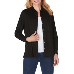 Women's Foxcroft Journey Faux Suede Shirt Jacket, Size 10 - Black found on Bargain Bro from Nordstrom for USD $33.82