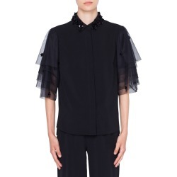 Women's Akris Punto Tulle Sleeve Blouse, Size 12 - Black found on MODAPINS from Nordstrom for USD $995.00