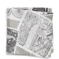 Men's Eton New York Stamp Silk Pocket Square, Size One Size - Grey found on Bargain Bro India from Nordstrom for $43.55