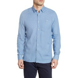 Men's Ted Baker London Notip Button-Up Linen Blend Shirt, Size 4 - Blue found on Bargain Bro from Nordstrom for USD $117.80